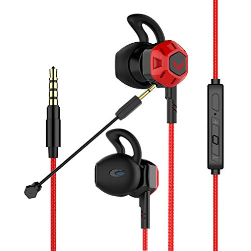 Gaming Earbuds,Headphones with Adjustable Mic Wired in-Ear Headphones E-Sport Earphones for Nintendo Switch, Xbox One, PS4, PC, Laptop, Cellphone with 3.5mm Jack(G100X, Volume Control) (Red)