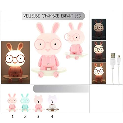 Veilleuse Forme Animal LED Touch -Mod3 Ourson Rose- Lampe USB Enfant- 023