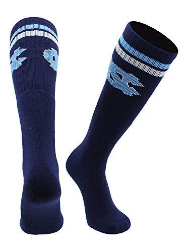 North Carolina Tar Heels Socken Throwback Tube, Herren, Marineblau/Carolina Blau/Weiß, X-Large