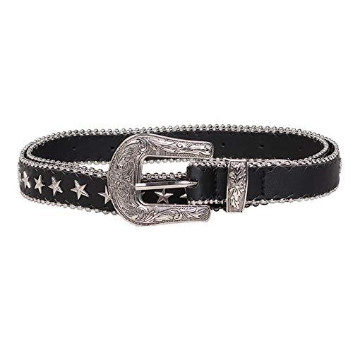 Cinturones de Mujer Cinturón de Ojal Cinturón Punk Cinturón PU Cuero de PU con Vintage Punk Rock Jeans Cinturones de Cintura para Mujeres (Color : Black, Size : Small)