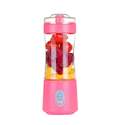 SXXYTCWL Portable Juicer 380ml Smoothie Blender with 6 Blades Handheld USB Charging Mini Accompanying Juicer Cup Suitable for Home Outdoor Sports Office Travel Without BPA (Blue) (Color : Pink)