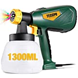 Paint Sprayer, TECCPO 600 Watts Up to 100DIN-s, High Power HVLP Electric Spray Gun with 1300ml Detachable Container, 3 Copper Nozzles & 3 Spray Patterns, Adjustable Volume Dial for Home & Gardening