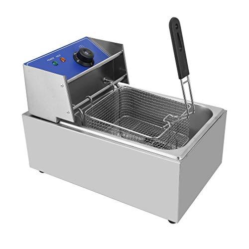 Dalkey123 Freidora Barra Inoxidable, Cestas Acero Inoxidable, Temperatura Constante Eléctrica 50-200℃, Capacidad 6L, Uso Comercial Uso Doméstico