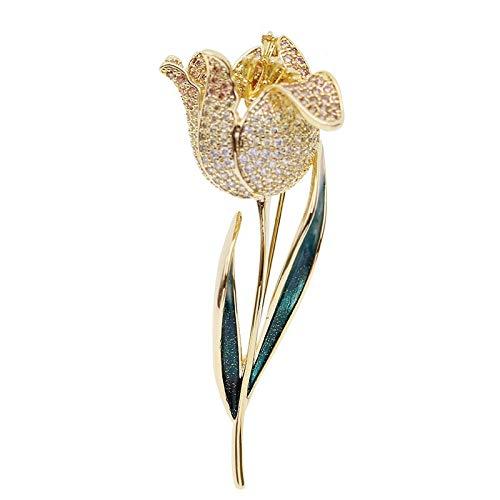 weichuang Brosche, schöne Tulpen-Brosche, Blume, Urlaubsgeschenk für Frauen, Tropfenversand mit Box, Brosche (Farbe: Gold)