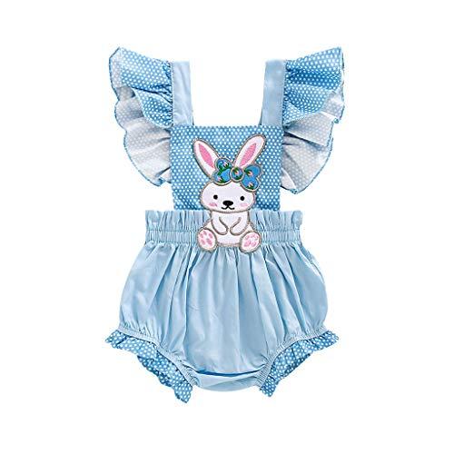 Mameluco para niñas de 0 a 18 meses para bebés y niñas con volantes, de dibujos animados de conejo, sin espalda, ropa de liquidación