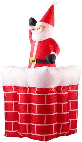 infactory Nikolaus aufblasbar: Aufblasbarer XXL Weihnachtsmann mit Schornstein, 180 cm (Weihnachtsdeko aufblasbar)