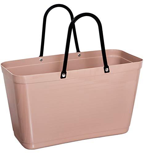 Hinza Green Plastic Kunststofftasche Tasche groß 15 L beige mit Henkel 41,5x44x18 cm biobasierter Kunststoff Tragetasche Shopper Shoppingbag Einkaufstasche Einkaufskorb BPA-frei Swedish Design