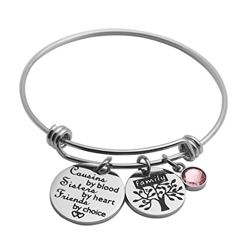 Ankiyabe Cousins Gifts Cousin Expandable Bracelet Cousins Birthday Gift Cousin Quotes Bangle with Family Tree Charm (Cousins by Blood Sisters by Heart Friends by Choice)
