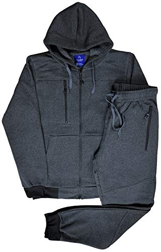 Royal Threads Canada Men's Warm Winter Tech Fleece Sweat Jacket Sweatpants Jogger Outfit (Charcoal, XL)