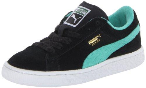 PUMA Suede Junior Sneaker (Little Kid/Big Kid),Black/Electric Green/Gold,6 M US Big Kid