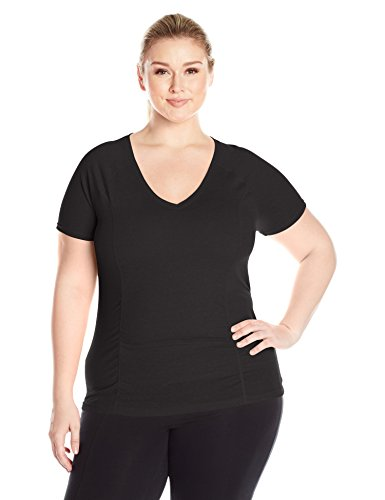 Fit for Me by Fruit of the Loom Women's Plus Size Breathable Shirred T-Shirt, Black, 2X