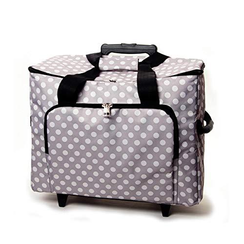 Sewing Machine Trolley-Gray W/White Polka Dots 17 X13 X19