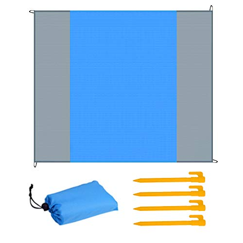 HQCM Stranddecke Polyester Picknickdecke Wasserdicht Sandabweisend Im Freien Campingdecke Faltbar Tragbar Matte Mit 4 Plastik Nagel
