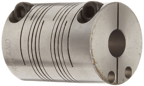 Ruland FCR20-8-6-SS Clamping Beam Coupling, Stainless Steel, Inch, 1/2' Bore A Diameter, 3/8' Bore B Diameter, 1-1/4' OD, 1-3/4' Length, 50 lb-in Nominal Torque