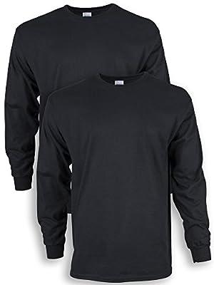 Gildan Men's Ultra Cotton Adult Long Sleeve T-Shirt, 2-Pack, Black, Medium