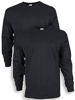 Gildan Men s Ultra Cotton Long Sleeve T-Shirt Style G2400 2-Pack Black 3X-Large