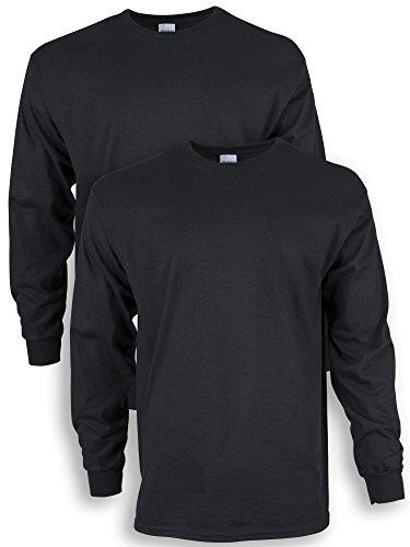 Gildan Men's Ultra Cotton Long Sleeve T-Shirt, Style G2400, 2-Pack, Black, Large