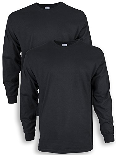 Gildan Men's Ultra Cotton Long Sleeve T-Shirt, Style G2400, 2-Pack, Black, Medium