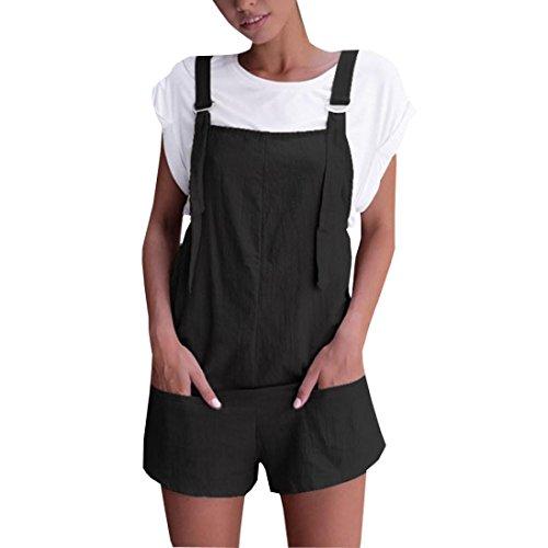Dragon868 Damen Overall Kurz Elastische Taille Latzhosen Leinen Baumwolle Taschen Strampler Playsuit Shorts Hosen (Schwarz, M)
