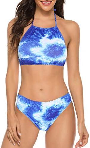 Juniors Bikinis Tie Dyed Padding 2 PCS Halter Swimsuit Sets Bathing Suit Beach Swimwear Blue product image