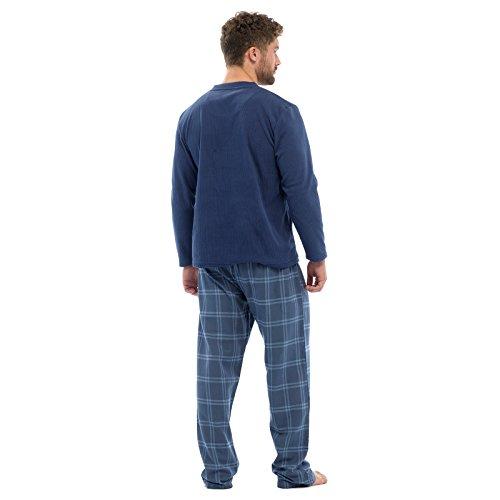 Herren Thermo-vlies Top & Flanell Kariert Böden Pyjama Pyjama Set Winter Nachtwäsche - Blau, L