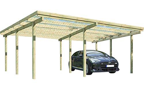 Carport ELBE 2 Doppelcarport 5,81 x 5,10 m Flachdach Garage Unterstand Holz