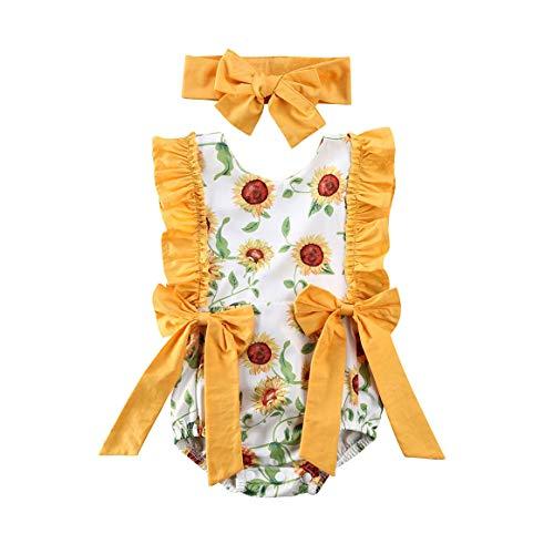 Geagodelia Conjunto de 2 piezas de pelele para bebé de verano amarillo con estampado de girasoles de manga de encaje con lazo + cinta para el pelo amarillo 90 cm(12-18 meses)