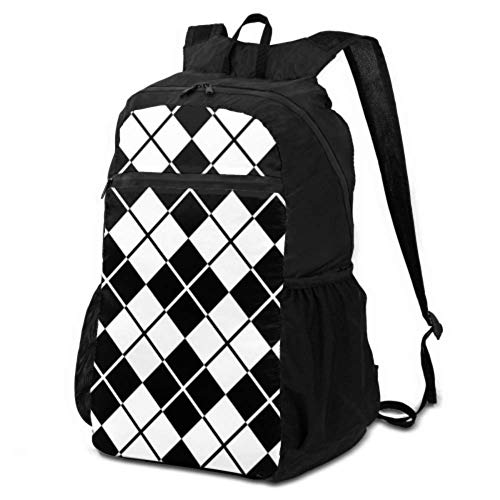 JOCHUAN Daypacks for Travel Black White Diamond Shape Ornament Womens Travel Daypack Backpack Daypack Travel Bag Lightweight Waterproof for Men & Womentravel Camping Outdoor