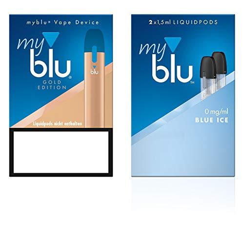 Elektrische Zigarette myblu Farbe Gold - Starter Set mit Podpack Geschmack Blue Ice - Ohne Nikotin + Soft Touch Pen + Tattooset