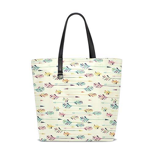 XiangHeFu Damen Handtaschen Regenbogen Feder Pfeil Polyester Stoff Umhängetasche