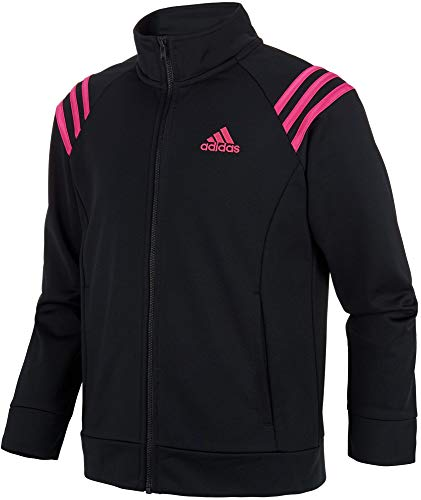 adidas Girls' Athletic Event Jacket Full Zip Comfortable Fit Tricot Sports Jackets with Side Pockets (Black/Small)