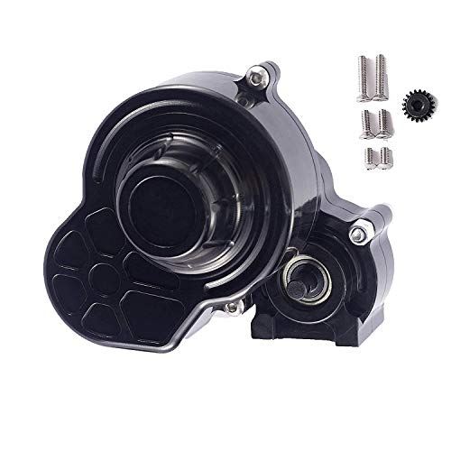RZXYL 1/10 RC Car Transmission Case Gearbox with Gear Full Alloy Assembled for SCX10 SCX10 II 90046 90047 RC Crawler Car, Black