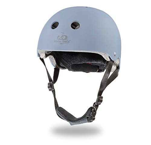 Kinderfeets Helmet - Adjustable Fit Dial Helmet for Toddlers and Kids | Customizable Fit Pads and Pinch-Saver Padded Chin Strap | PVC Shell for Optimal Head Protection (Slate Blue)