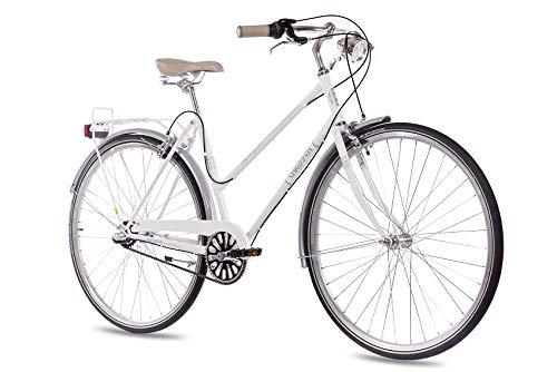 CHRISSON 28 Zoll Damen City Bike - Vintage City Lady Weiss - Old School Damenfahrrad mit 3 Gang Shimano Nexus Nabenschaltung und Rücktrittbremse, Retro Cityfahrrad für Frauen