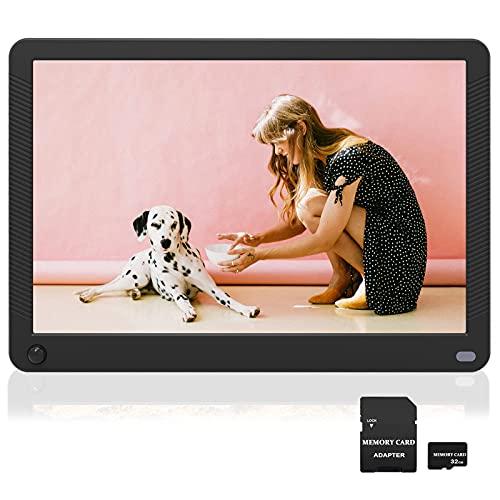 Digitaler Bilderrahmen 10 Zoll mit Bewegungssensor, Elektronischer Fotorahmen mit 32GB SD Karte, Hochauflösend (1920 x 1080) IPS Bildschirm, Foto/Musik/Video-Player Kalender Wecker, Fernbedienung
