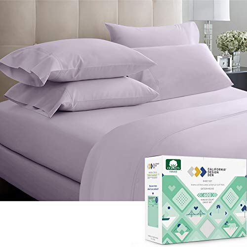 California Design Den 600 Thread Count Best Bed Sheets 100% Cotton Sheets Set - Extra Long-Staple Cotton Sheet for Bed 4 Piece Set with Deep Pocket (Lavender, Queen Sheet Set)