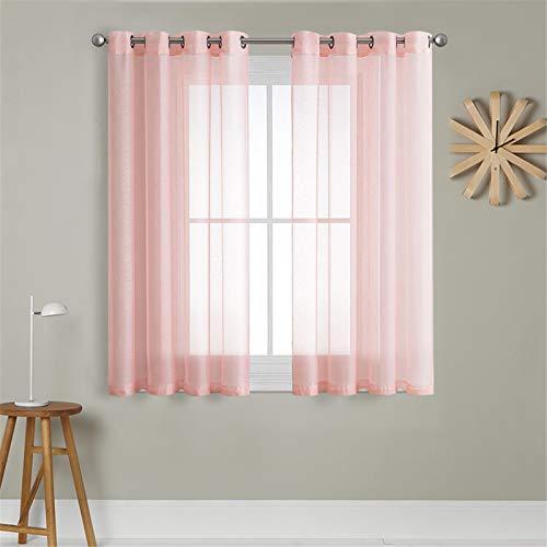 MRTREES Voile Gardinen Vorhang halbtransparent kurz mit Ösen in Leinenoptik Stores Gardinen Schals für Wohnzimmer Schlafzimmer Kinderzimmer Rosa 137×140cm (H×B) 2er Set
