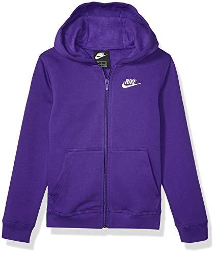 Nike Boy's NSW Club Full Zip Hoodie, Court Purple/Court Purple/White, Small