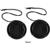 tinxi® Pack de 2 55mm Tapa Objetivo Universal Lens Cap Protector de cámara Frontal, Negro para Canon Nikon Sony Olympus Fuji Panasonic Samsung y Otros Lentes de DSLR