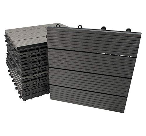 WPC Fliesen, 30x30cm, grau, 11 Stück = 1 m², Terrassen-Fliese mit Schnellverbinder in Holz-Optik und Dielen-Design, Klick Boden-Fliese (11 Fliesen = 1m²)