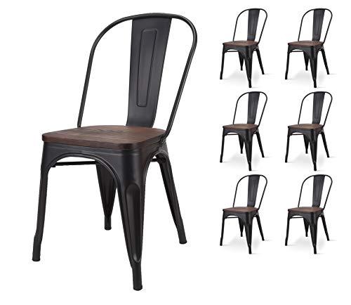 KOSMI - Lot de 6 chaises en métal noir mat avec assise en bois massif foncé, pour une décoration style industriel
