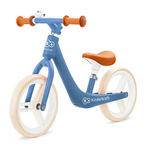 Kinderkraft Laufrad FLY PLUS, Lernlaufrad, Kinderlaufrad, Fahrrad mit Zubehör, Klingel, höhenverstellbar Sattel, 12 Zoll Räder, Magnesiumrahme, ab 3 Jahre, Retro Design, Blau