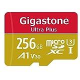 Gigastone - Scheda di Memoria Micro SD XC da 256GB e Adattatore. U3 A1 V30, Fino a 100 MB/s di Lettura, 80 MB/s di Scrittura per videocamere Nintendo Dashcam GoPro, Samsung Canon Nikon DJI Drone …