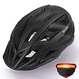 Zacro Fahrradhelm mit Rücklicht - CE Zertifiziert Bike Helmet mit Auswechselbaren Innenfutter und Abnehmbarer Sonnenblende, Verstellbar Mountainbike Helm 54-63cm für Herren Damen, Schwarz