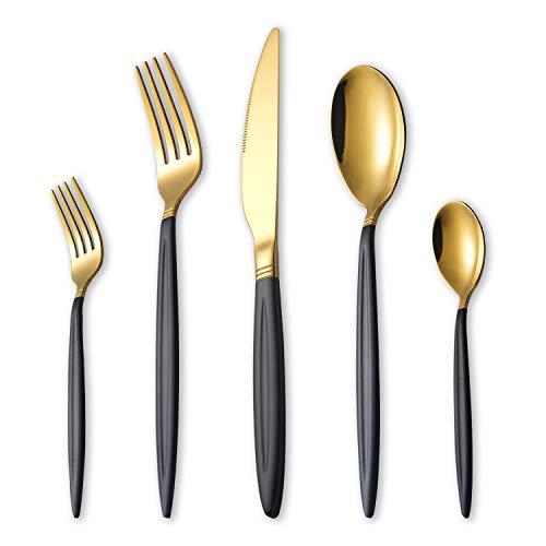HOMQUEN 30-Teiliges Besteckset aus Schwarzgold, Edelstahl Besteck Set, Titan Gold Löffel und Sprühfarbe Griff Besteck Set, Service Set für 6 (Mattschwarz mit Glänzendem Gold)