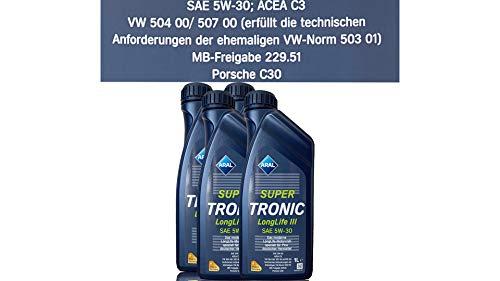 4x 1 L Liter ARAL SuperTronic Longlife III 3 5W-30 Motoröl