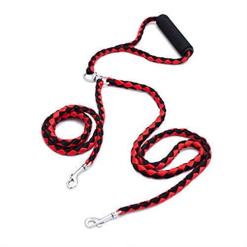Locisne Keine Verwicklung Dual-Hundeleine für 2 Hunde Nylon 1.4m (Rot und Schwarz)