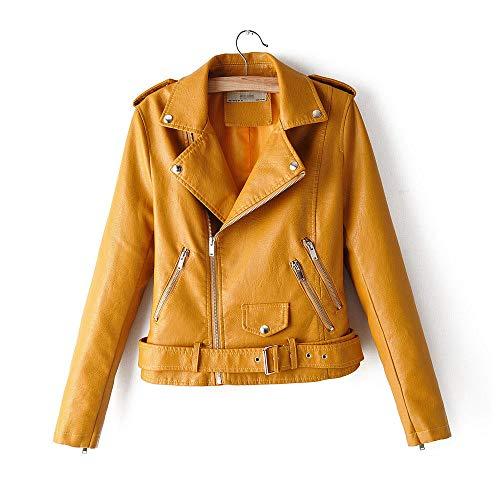 XL_nspiyi Dünne Kurze Lederjacke für Damen, gelb_S