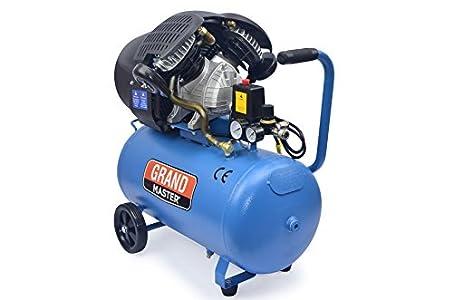 Grandmaster - Compresor de Aire 50 Litros 220V, Dos Cilindros 356L/min, 2200W/3cv, 8 Bares/118psi, Filtro de Aire, Velocidad 2850/min, Compresor Silencioso 72/94 dB, Válvula de Seguridad