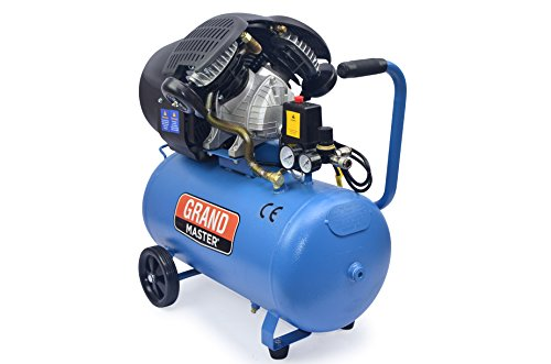 Grandmaster - Compresor de Aire 50 Litros, 220V, Dos Cilindros 356L/min, 2200W/3cv, 8 Bares/118psi, Filtro de Aire, Velocidad 2850/min, Compresor Silencioso 92 dB, Válvula de Seguridad, 50L